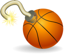 Royalty Free Clipart Image of a Basketball Time Bomb