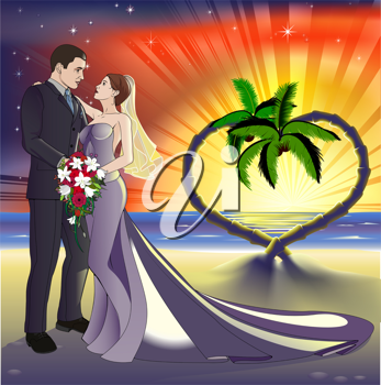 Royalty Free Clipart Image of a Bride and Groom on a Beach