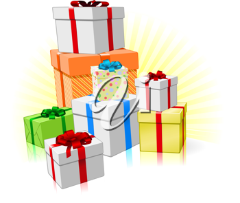 Royalty Free Clipart Image of a Pile of Presents