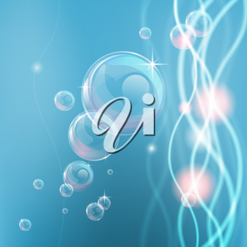 Blue background with abstract shapes and lights and bubbles