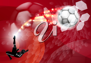 An abstract red soccer sport background with detailed silhouette of a soccer player kicking a soccer ball, smashing it through an abstract goal net