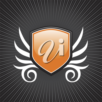 Royalty Free Clipart Image of an Orange Shield