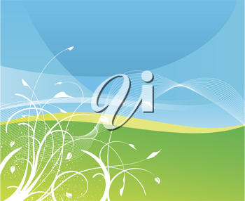 Royalty Free Clipart Image of an Abstract Background With Grass and Sky