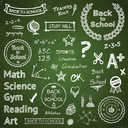 Back to school hand drawn text lettering and icons