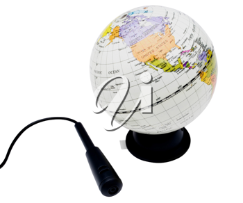 Royalty Free Photo of a Globe and a Microphone