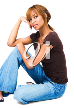 Royalty Free Photo of a Woman Sitting on the Floor