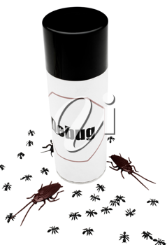 Cockroaches and ants near an insect repellent isolated over white