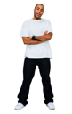 Man posing isolated over white