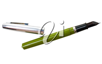 Fountain pen of green color isolated over white