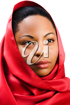 Close-up of a fashion model isolated over white
