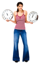Woman holding clocks and posing isolated over white