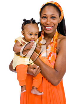 Woman carrying her daughter and smiling isolated over white
