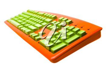 Single orange color keyboard isolated over white