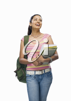 Female college student holding files