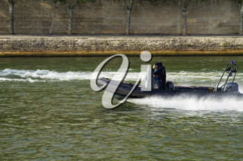 Motorboat in the river, Paris, France