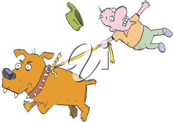 Royalty Free Clipart Image of a Dog Pulling a Man