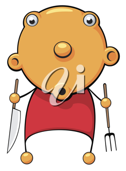 Royalty Free Clipart Image of a Hungry Baby Holding a Knife and Fork