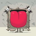 Royalty Free Clipart Image of a Creature With a Big Tongue Holding a Knife and Fork