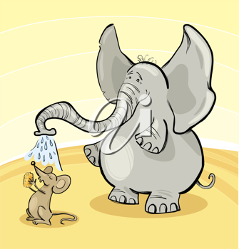 Royalty Free Clipart Image of a Mouse Having a Shower Under an Elephant's Trunk