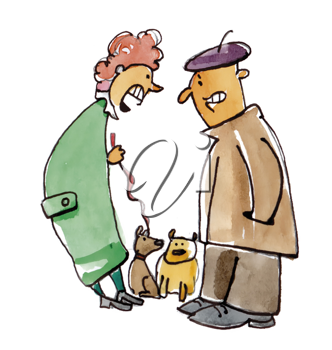 Royalty Free Clipart Image of Two People Talking and Walking Their Dogs