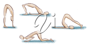 Royalty Free Clipart Image of Figures Doing Exercises