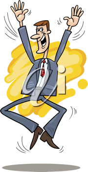 Royalty Free Clipart Image of a Happy Businessman Jumping
