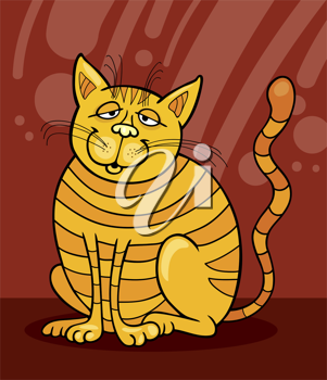Royalty Free Clipart Image of a Yellow Cat