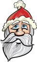 Royalty Free Clipart Image of a Drawing of Santa's Face