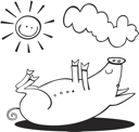 Royalty Free Clipart Image of a Pig in the Sun