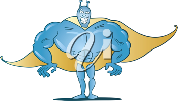 Royalty Free Clipart Image of a Blue Superhero