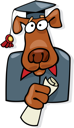 Royalty Free Clipart Image of a Dog With a Diploma