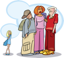 Royalty Free Clipart Image of a Girl and Three Big People