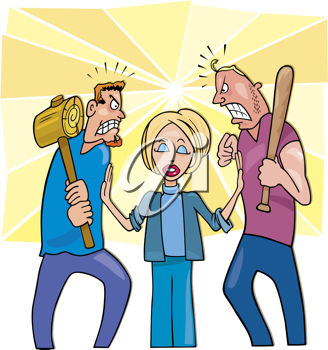 Royalty Free Clipart Image of a Woman Coming Between Two Angry Men