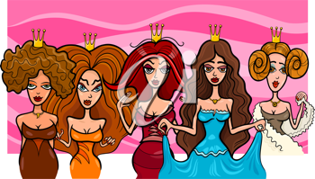 Cartoon Illustration of Five Beautiful Princesses or Queens Fairytale Fantasy Characters