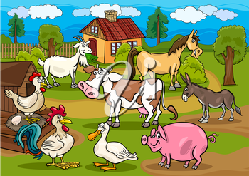 Cartoon Illustration of Rural Scene with Farm Animals Livestock Big Group