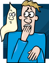 Royalty Free Clipart Image of a Man Afraid of a Ghost