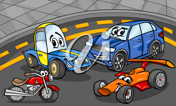 Cartoon Illustration of Funny Cars and Vehicles Comic Characters Group