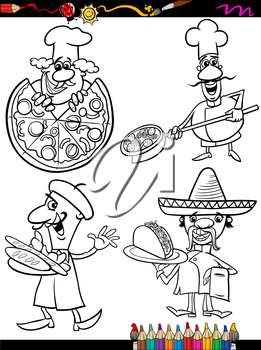 Coloring Book or Page Cartoon Illustration of Black and White Chefs Characters with National Food for Children