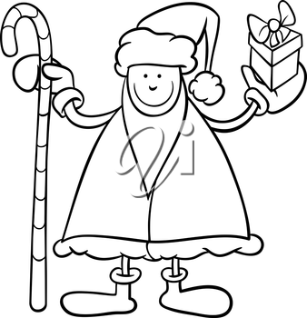 Black and White Cartoon Illustration of Santa Claus Character with Cane and Christmas Present for Coloring Book