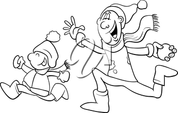 Black and White Cartoon Illustration of Father and Little Son Throwing Snowballs and Having Fun on Winter Time for Coloring Book
