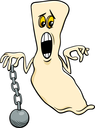 Cartoon Illustration of Funny Ghost Halloween or Fantasy Character with Chain