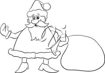 Black and White Cartoon Illustration of Santa Claus with Sack of Gifts on Christmas for Coloring Book
