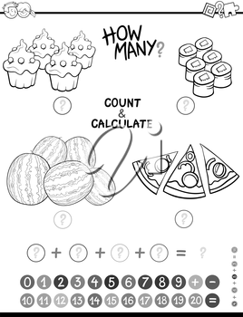 Black and White Cartoon Illustration of Educational Mathematical Count and Addition Activity for Preschool Children Coloring Page