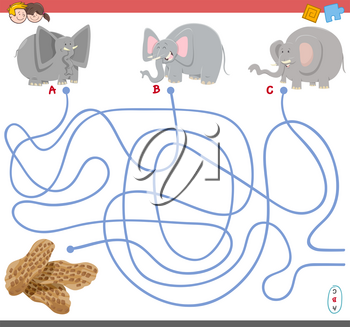Cartoon Illustration of Paths or Maze Puzzle Activity Game with Elephant Animal Characters and Peanuts
