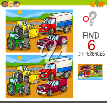 Cartoon Illustration of Spot the Differences Educational Game for Children with Cars and Transport Characters Group