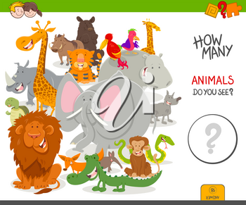Cartoon Illustration of Educational Counting Activity Game for Children with Cute Wild Animal Characters