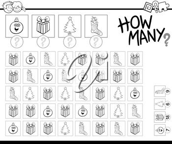 Black and White Cartoon Illustration of Educational How Many Counting Game for Children with Christmas Holiday Objects Coloring Book