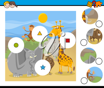 Cartoon Illustration of Educational Match the Elements Game for Children with Safari Animal Characters Group