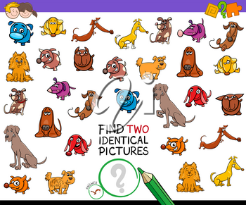 Cartoon Illustration of Finding Two Identical Pictures Educational Activity Game for Children with Dog and Puppy Characters