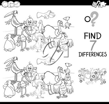 Black and White Cartoon Illustration of Searching Differences Between Pictures Educational Activity Game for Children with Birds Animal Characters Group Coloring Book